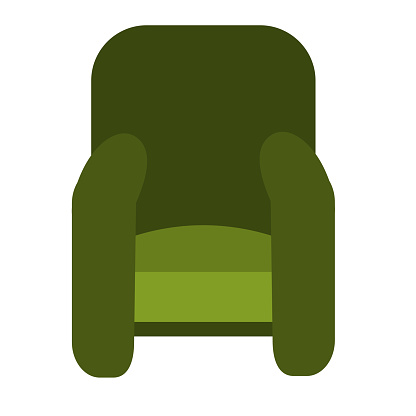 Single soft green chair with large armrests isolated on a white background. Vector illustration in flat style. Collection of furniture for bedroom, office, living room