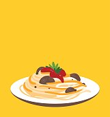 Single spaghetti with tomato serving on yellow background.