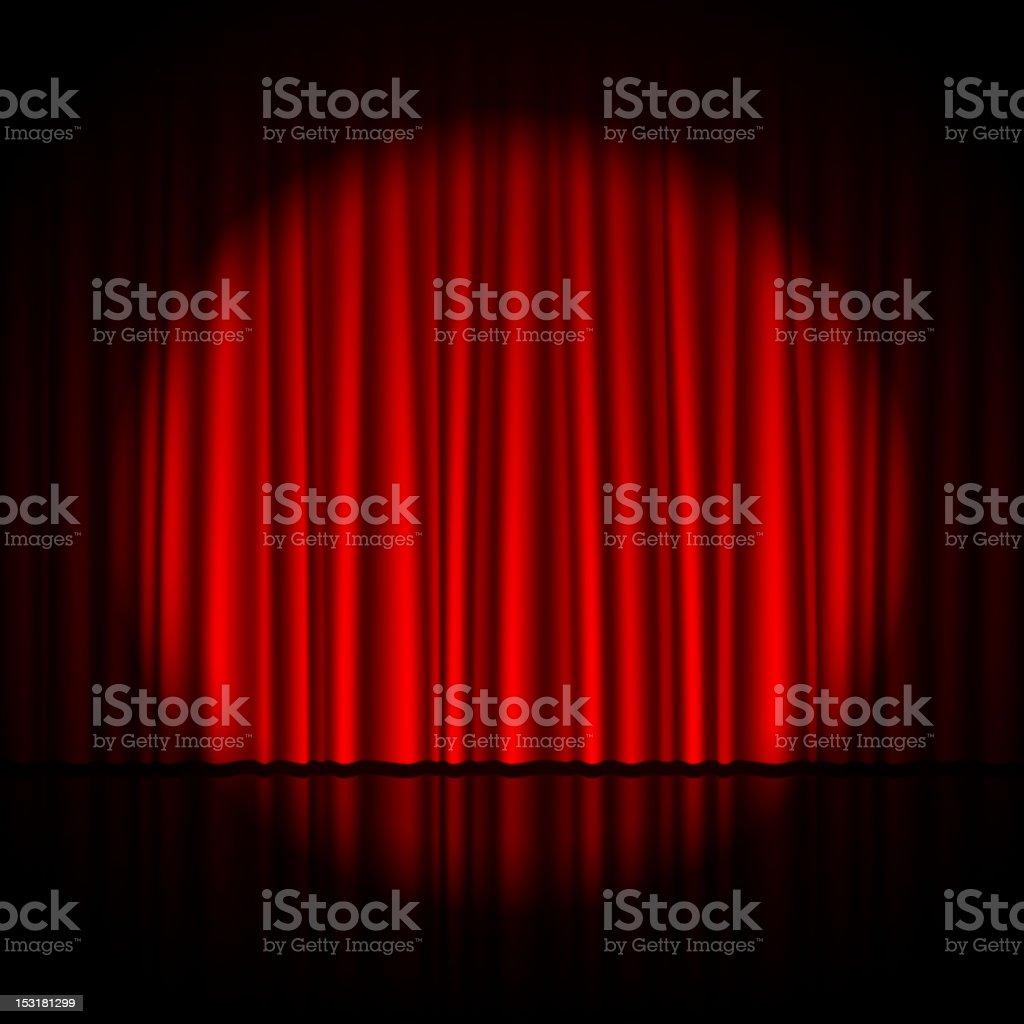 Single spotlight shining on pleated red theatrical curtains vector art illustration