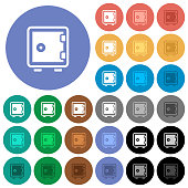 Single strong box multi colored flat icons on round backgrounds. Included white, light and dark icon variations for hover and active status effects, and bonus shades on black backgounds.