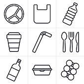 Single use plastic disposable items trash garbage waste icons  and symbols collection.