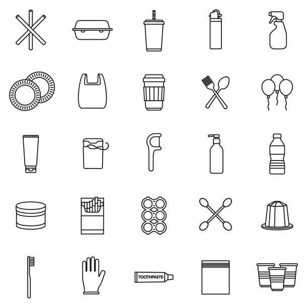 Single Use Plastics Icon Set A set of icons. File is built in the CMYK color space for optimal printing. Color swatches are global so it's easy to edit and change the colors. polystyrene stock illustrations