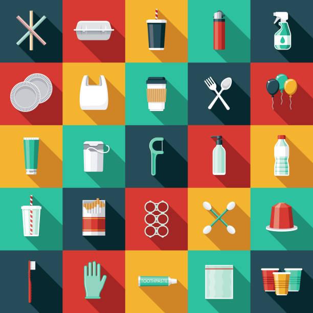 illustrations, cliparts, dessins animés et icônes de ensemble d'icônes en plastique à usage unique - tasse flat
