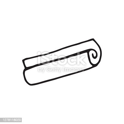 istock Single vector folded mat icon hand drawn in doodle style. Element of camping set, yoga carpet. Rolled paper sheet. Touristic equipment for sleeping in tent. Suitable for logo, stickers, prints, flyers 1278118020