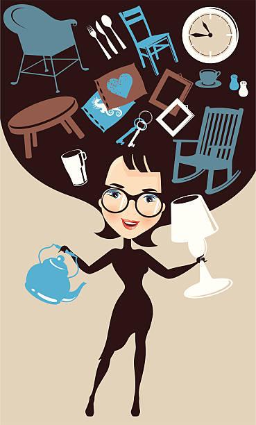 Jedna kobieta Ozdabiając domu. – artystyczna grafika wektorowa