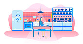 Single Woman in Kitchen Evening Lifestyle Cartoon Lonely Female Sitting at Table and Drinking Wine Eating Sweets Thinking Planning Future Resting Home Relaxation after Hard Workday Vector Illustration