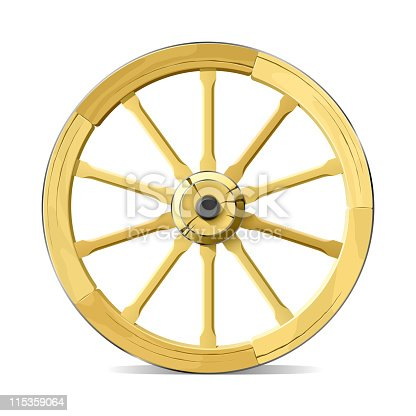 Vector illustration of wooden wagon wheel