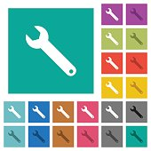 Single wrench square flat multi colored icons
