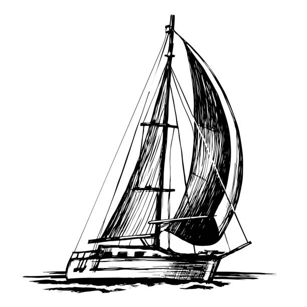 Single-masted sailboat vector sketch isolated vector art illustration