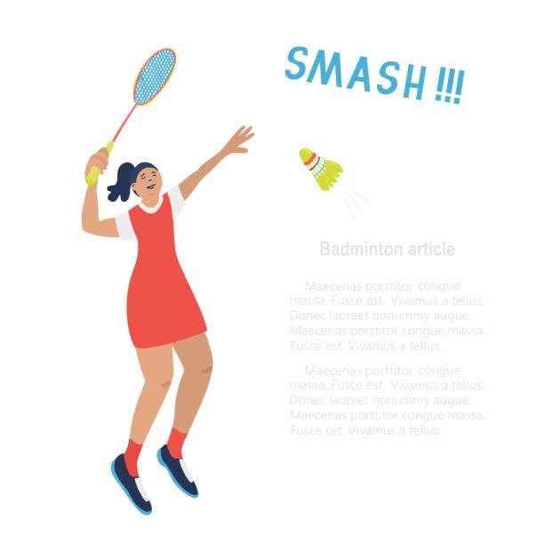 singles badminton game woman, an article template. - badminton smash stock illustrations