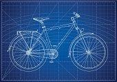 Detailed Fixed Gear Bike Blueprint.
