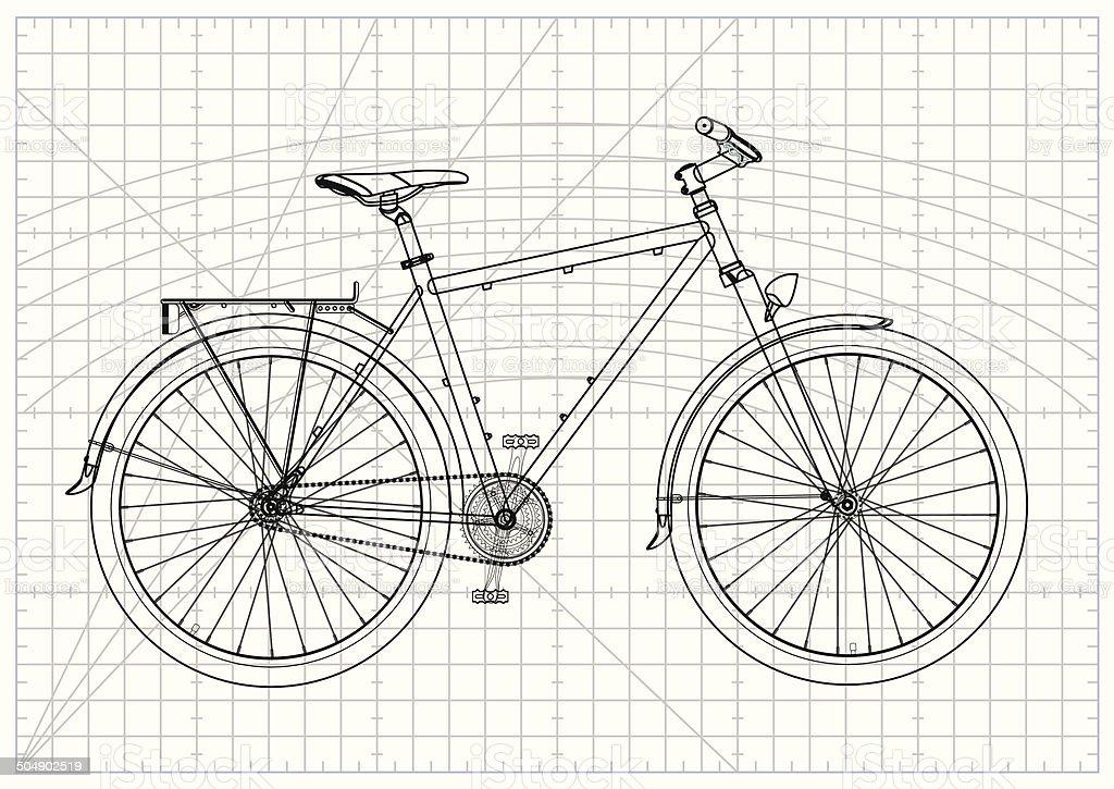 Fahrrad Zeichnung Einfach : singlestadt fahrrad technische zeichnung stock vektor art ~ Watch28wear.com Haus und Dekorationen