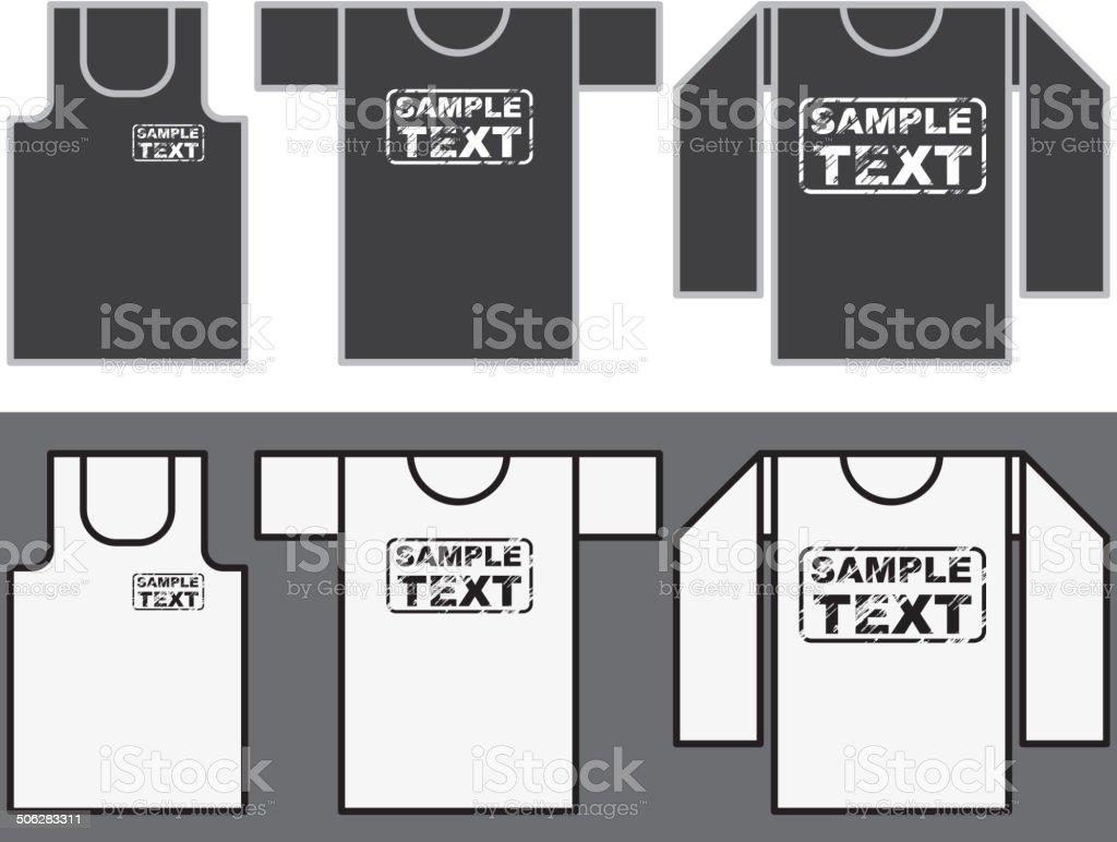 Singlet, T-shirt and Long-sleeved shirt template. royalty-free stock vector art