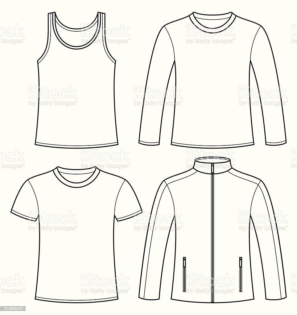 Shirt Tshirt Langarmtshirt Und Einer Jacke Vorlage Stock Vektor Art ...