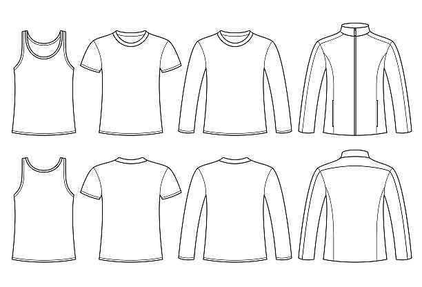 shirt, t-shirt, langarm-t-shirt und einer jacke vorlage - catsuit stock-grafiken, -clipart, -cartoons und -symbole