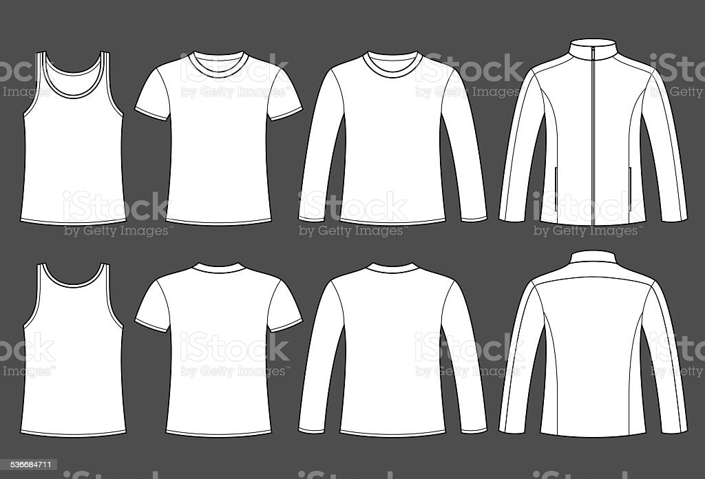 Singlet, T-shirt, Long-sleeved T-shirt and Jacket template royalty-free singlet tshirt longsleeved tshirt and jacket template stock illustration - download image now