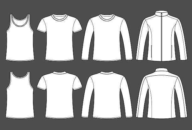 singlet 、t シャツ、長袖 t シャツやジャケットのテンプレート - 襟付きシャツ点のイラスト素材/クリップアート素材/マンガ素材/アイコン素材