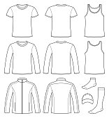 Singlet, T-shirt, Long-sleeved T-shirt, Jacket, Socks and Cap template - front and back isolated on white background