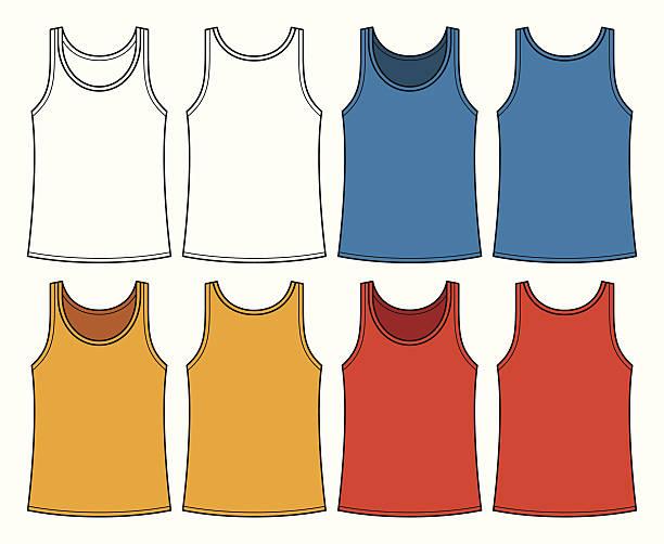 unterhemden vorlage-vorder- und rückseite - catsuit stock-grafiken, -clipart, -cartoons und -symbole