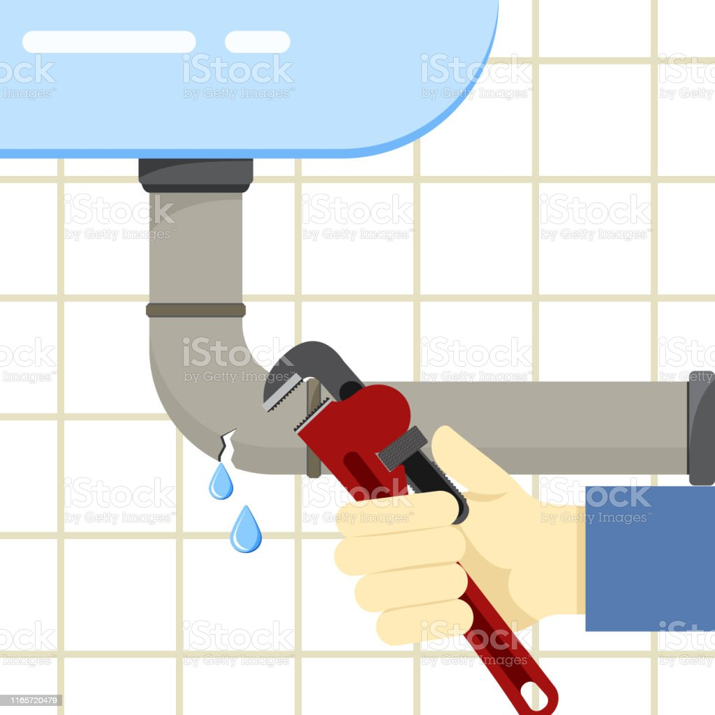 Colored flat background, vector design. Sink and broken pipe with...