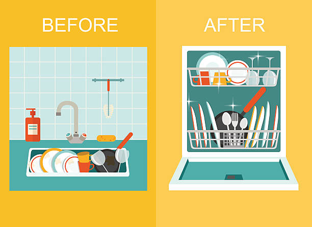Sink and Open dishwasher with clean dishes. Flat vector illustration. Dirty sink with kitchenware, utensil, dishes, dish detergent and a sponge.Open dishwasher with clean dishes. Flat style vector illustration. domestic kitchen stock illustrations