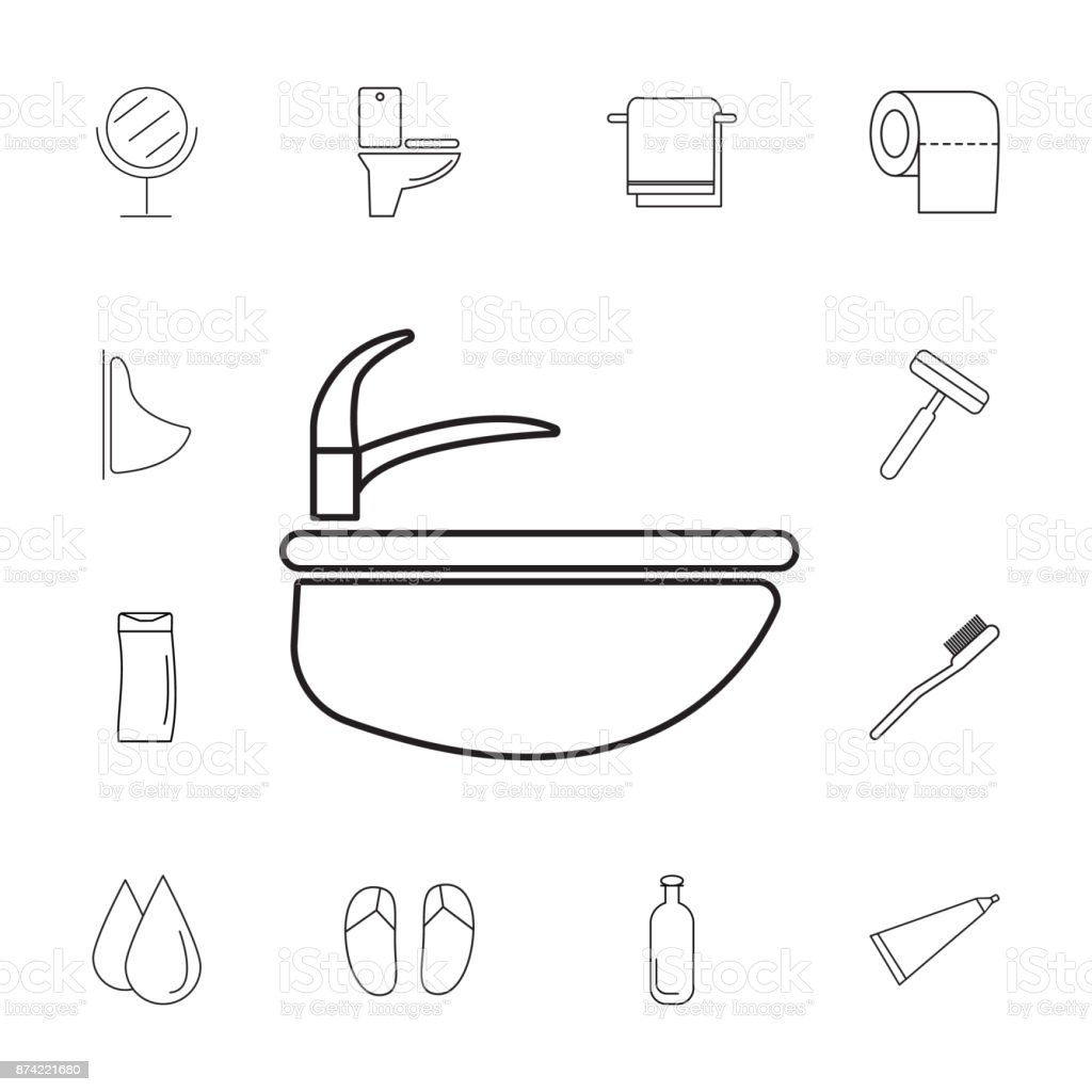 Sink Icon Set Of Bathroom Icons Signs Outline Symbols Collection ...