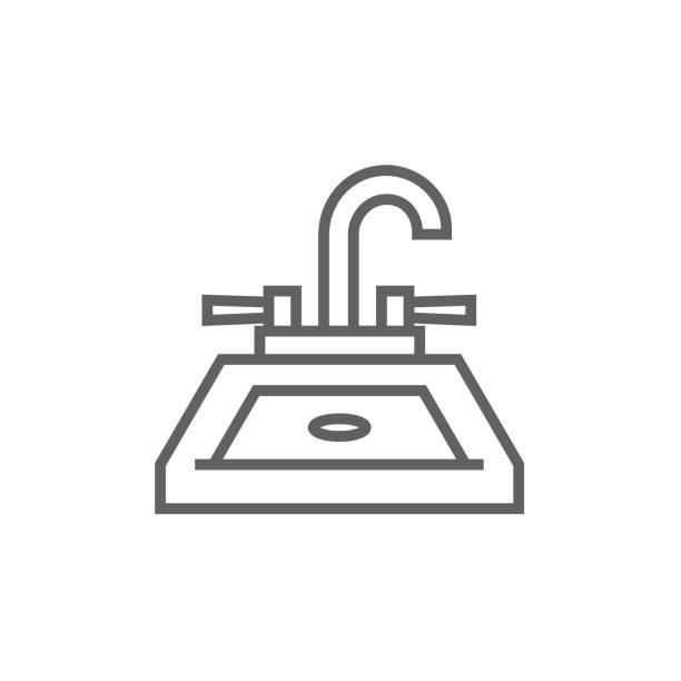 stockillustraties, clipart, cartoons en iconen met zinken lijn pictogram - cell phone toilet