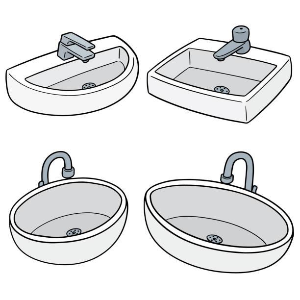 spülbecken - waschküchendekorationen stock-grafiken, -clipart, -cartoons und -symbole