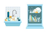 Sink with a bunch of dirty dishes and open dishwasher with clean dishes. Different kitchen household utensils before and after washing. Vector illustration in a trendy flat style.