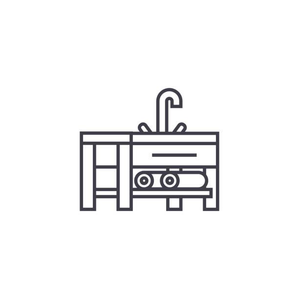 waschbecken sie mit wasserhahn vektor liniensymbol, zeichen, abbildung auf hintergrund, editierbare striche - waschküchendekorationen stock-grafiken, -clipart, -cartoons und -symbole
