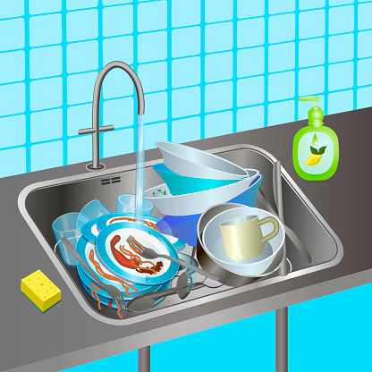 Sink with dirty dishes. Kitchen interior. Dishwashing detergent, sponge. Vector illustration.