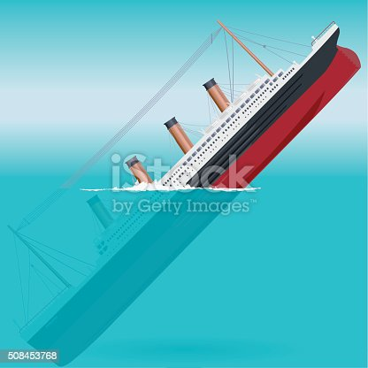 Sinking big ship legendary colossal boat monumental big ship symbol icon flatten isolated illustration master vector