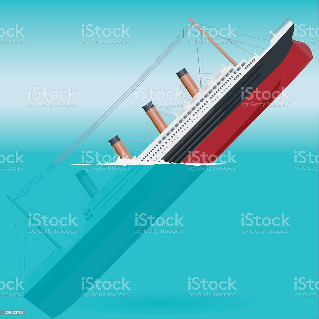 Sinking big ship legendary colossal boat monumental big ship symbol. vector art illustration
