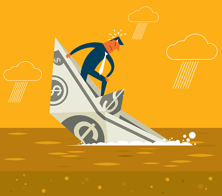 Sinking boat - Businessman