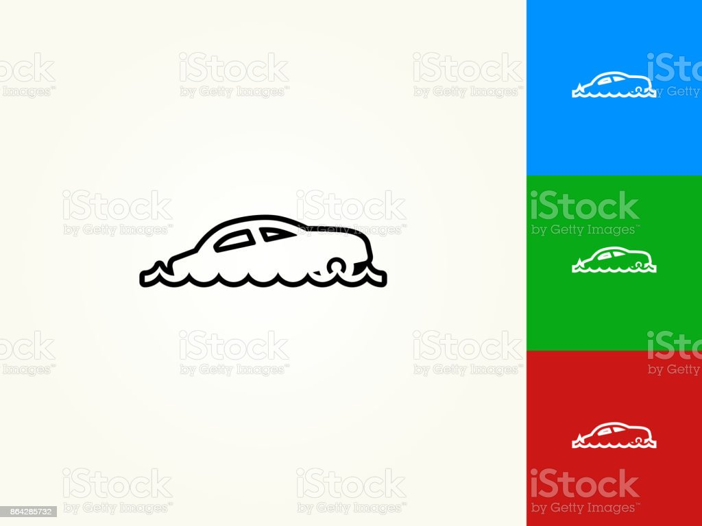 Sinking Car Black Stroke Linear Icon royalty-free sinking car black stroke linear icon stock vector art & more images of black color