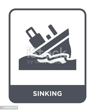 sinking icon vector on white background, sinking trendy filled icons from Insurance collection