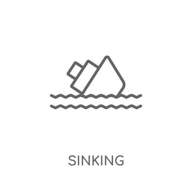 sinkende lineare ikone. modernes umriss-sink-logo-konzept auf weißem hintergrund aus der kollektion versicherung - gesunken stock-grafiken, -clipart, -cartoons und -symbole