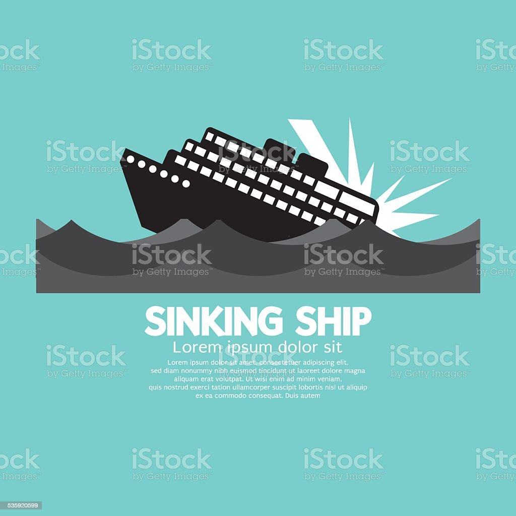 Sinking Ship Black Graphic vector art illustration
