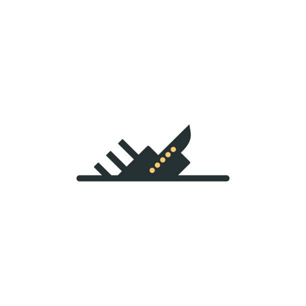 sinkendes schiff-symbol. element der web-symbol mit einer farbe für mobile konzept und web-apps. isolierte sinkendes schiff-symbol für web und mobile geräte einsetzbar - gesunken stock-grafiken, -clipart, -cartoons und -symbole