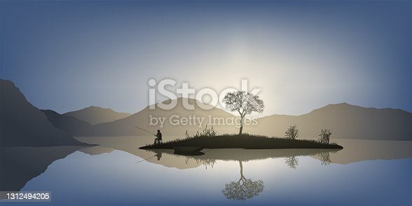 istock A sinner in the middle of a tranquil landscape. 1312494205