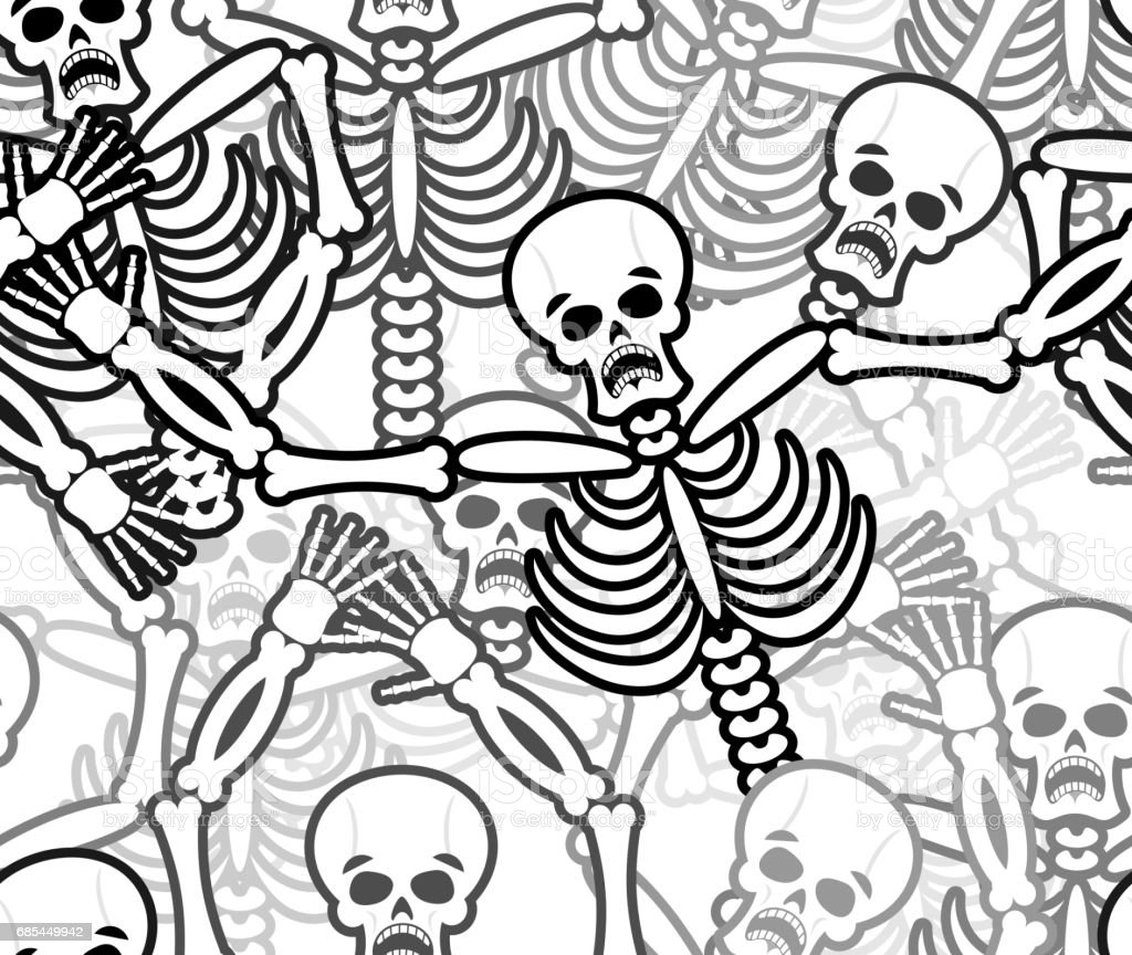 Sinners Seamless Pattern Skeleton In Hell Background Ornament Of ...