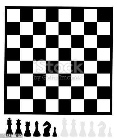 Simple chess board with pieces