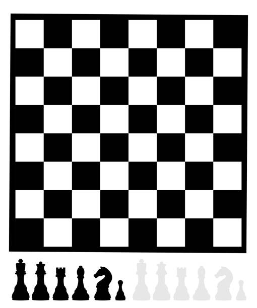 Sinple chess board with pieces vector art illustration