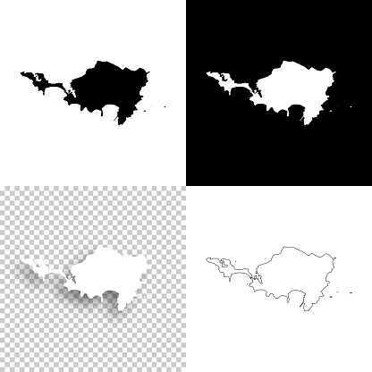 Sint Maarten maps for design - Blank, white and black backgrounds