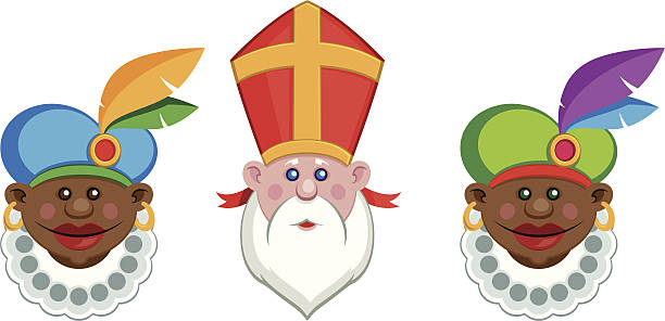 stockillustraties, clipart, cartoons en iconen met sinterklaas and his colorful helpers - mijter