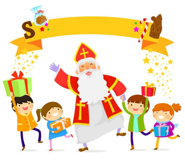 illustrations, cliparts, dessins animés et icônes de sinterklaas et enfants - saint nicolas