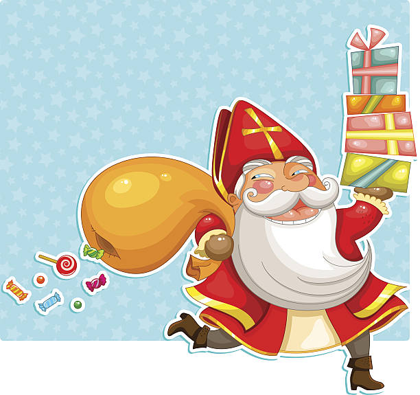 stockillustraties, clipart, cartoons en iconen met sinterklaas carrying presents - cadeau sinterklaas