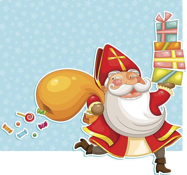 illustrations, cliparts, dessins animés et icônes de porter présente sinterklaas (saint-nicolas) - saint nicolas