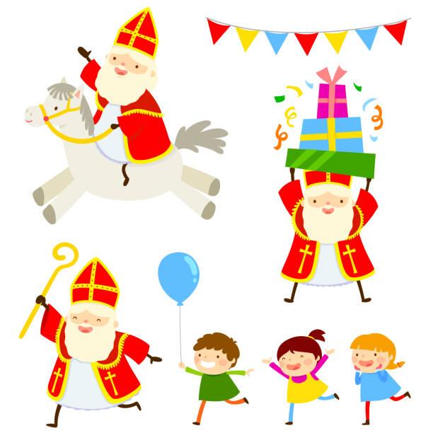stockillustraties, clipart, cartoons en iconen met sinterklaas tekenfilm verzameling - cadeau sinterklaas