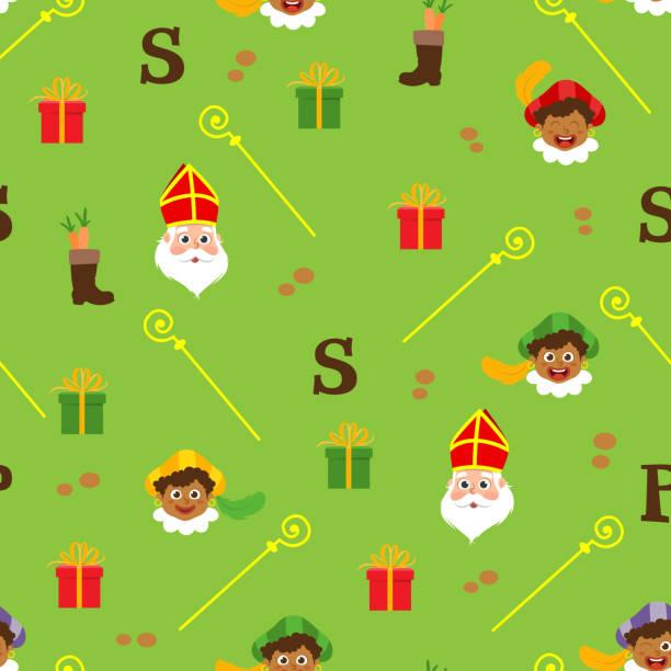 Sinterklaas green pattern - Dutch holidays Sinterklaas green pattern - Dutch holidays sinterklaas stock illustrations
